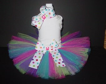 TuTu Skirt and Headband Two Piece Set Spring Easter Birthday Newborn 3 6 12 Months CUSTOM Baby Infant Polka Dots
