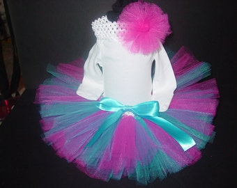 Spring TuTu Skirt and Headband Two Piece Set Newborn to 12 Months Custom Hot Pink & Blue Baby Infant