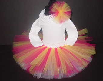 Spring TuTu Skirt and Headband Two Piece Set Newborn to 12 Months Baby Infant Strawberry Lemonade