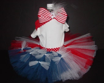 Patriotic FLAG TuTu Skirt ONLY Newborn to 6 Months CUSTOM Baby Infant 4th of July
