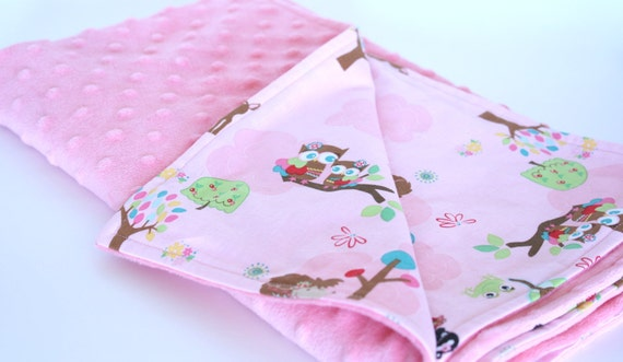 Minky Snuggles Pink Plush Baby Blanket - Riley Blake Hoo's In the Forest