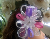 Purple-Pink-White Girl's BowBand for Hair /Headband for Newborn Baby Toddler Child