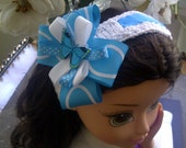 Turquoise-White Girl's Headband for Hair / Hand Knit Bowband