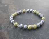 Grey n Yellow Pearl Bracelet in Wedding Fashion Pastel Bracelet