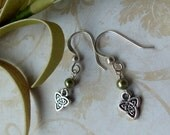 Celtic Triangle Earrings with Sage Pearls - 779