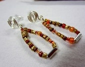 Seed Bead Earrings, Burnt Sienna