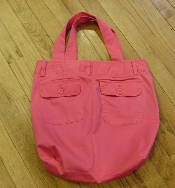 Upcycled Tote bag - Multi Use Bright Pink - with Zipper