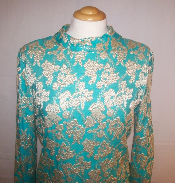 RESERVED FOR ROBYN 60s 70s Teal with Gold Brocade Flowers Formal Vintage Maxi Dress