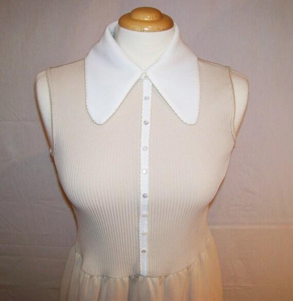 Vintage 60s 70s Cream White Maxi Ayers Unlimited Medium Maxi Sleeveless Small Medium Hippie Boho Festival Classic Dress