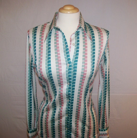 SALE Vintage Hooper Ladies Button Up Blouse with Abstract Square Pattern