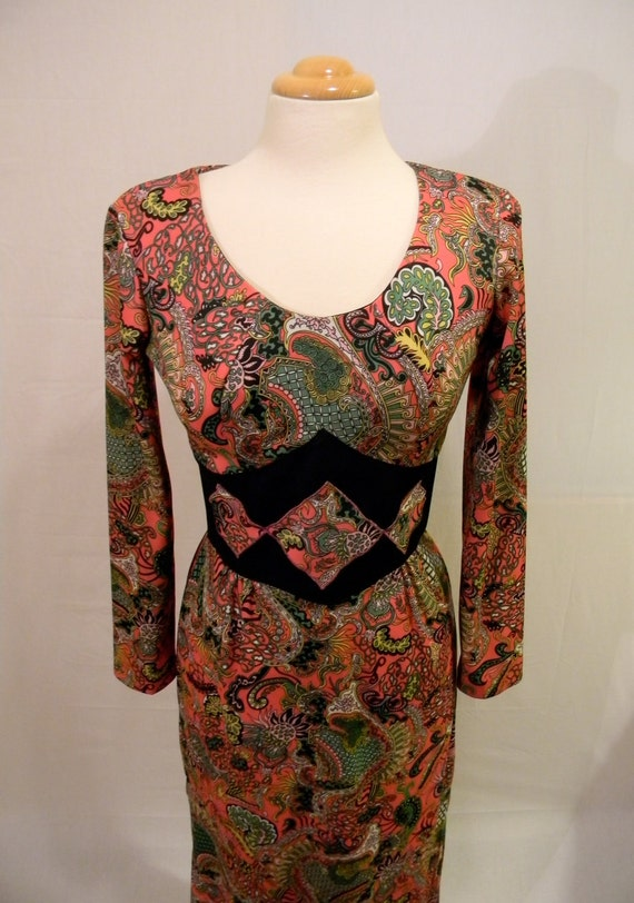 Vintage 60s Psychedelic Colorful Long Sleeve Paisley Hippie Boho Festival Maxi Dress made by Le Art