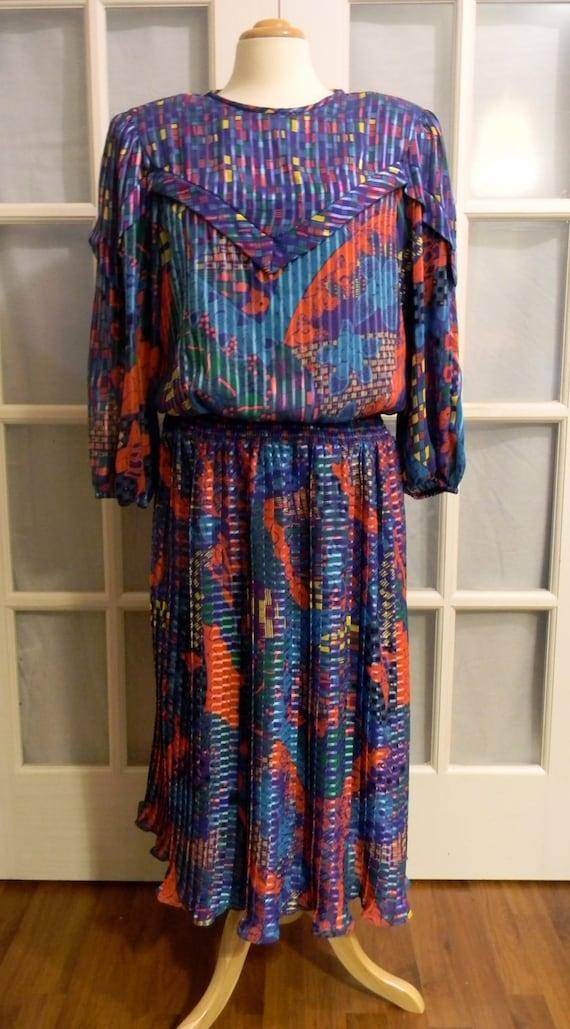 RESERVED Vintage 80s Jo Hanna York Colorful Secretary Dress Large  Extra Large