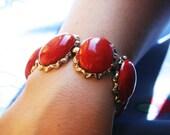 Gorgeous Signed Coro Red Bracelet
