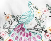 Vintage Peacock Flowered Linen Bright multi colored