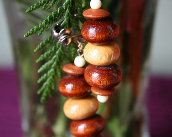 Vintage Wood Beaded Earrings 1960s