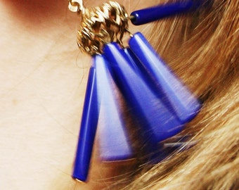 Vintage Tassel Earrings Blue/Cobalt colored beads, Boho/Hippie Style