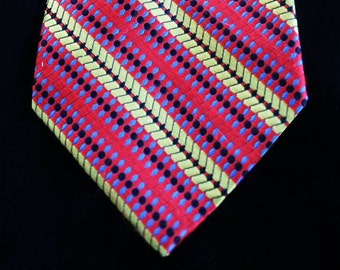 Vintage Striped Tie, Vintage Striped Necktie, Colorful Mens Tie Statement Tie