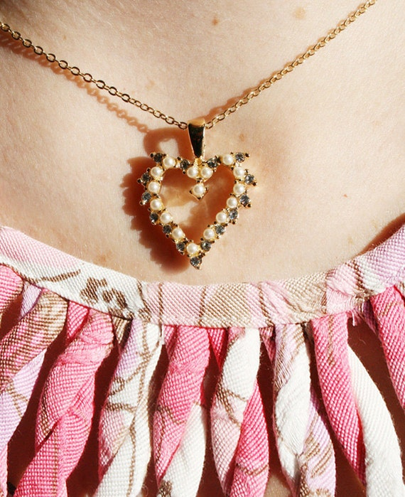 Vintage Heart Necklace Rhinestone Faux Pearl Valentines Day