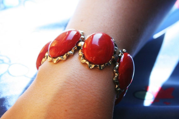 Gorgeous Signed Coro Red Bracelet