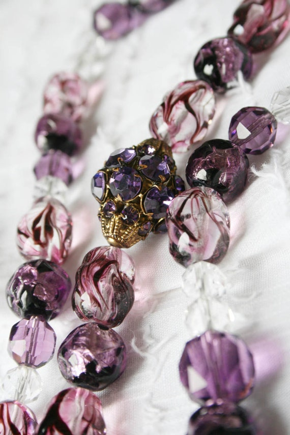 Vintage Czech Signed Necklace, Foiled Beads, Purple, Lilac colored with Rhinestones