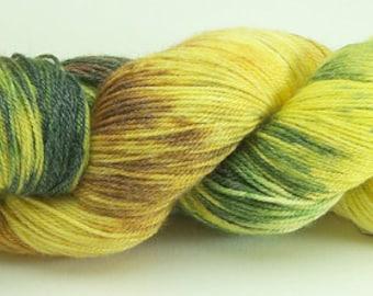 Hand Dyed Yarn Superwash Merino Bamboo Yellow Green Rust 2291