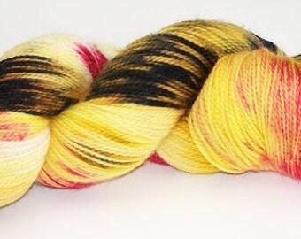 Hand Dyed Yarn Kona Superwash Wool Sock Yellow Red Brown Chocolate 2353
