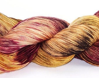 Hand dyed Yarn Superwash Wool Sock Energized Red Brown Earth 2362