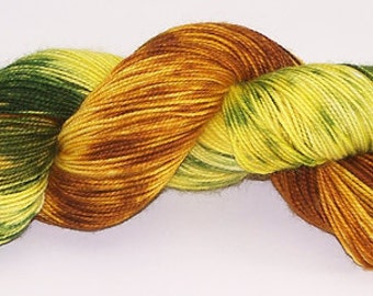 Hand Dyed Yarn Superwash Sock Wool Overtwist Yellow Golden Green Rust 2291