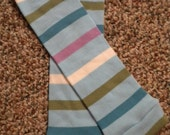 Leg warmers - Light Blue with Bright Blue, Lavender, Green and White Stripes