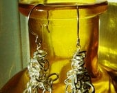 Earrings - Dramatic Silver Chain Clusters (statement, layer, layered, dramatic, drop, dangle)