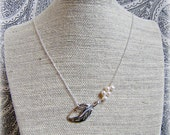 RESERVED FOR AMANDA - Leaf and Freshwater Pearl Necklace (nature inspired, silver, white, delicate, asymmetrical)