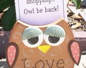 """Hand Painted Wooden Brown Owl Note Holder or Recipe Holder. """"LOVE"""""""