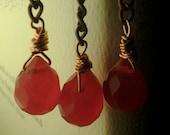 Red Glass Tear Drop Earrings