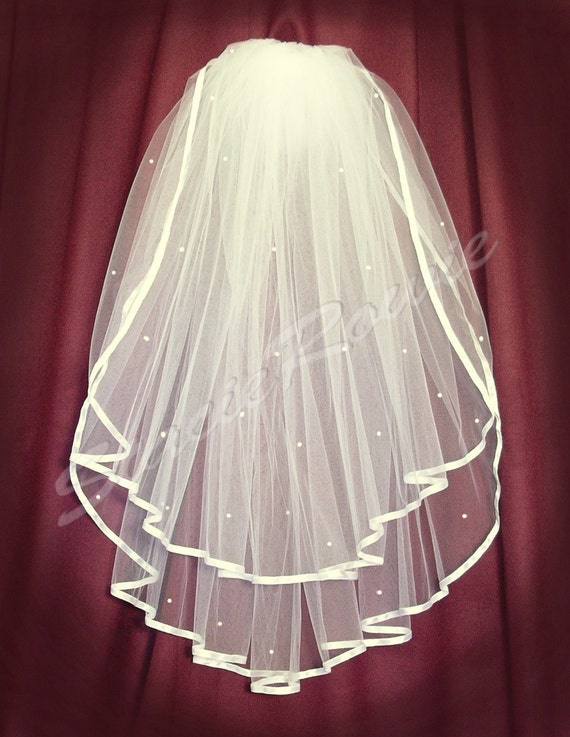 2 tier waist length ivory wedding veil with satin ribbon edge - veil with rhinestones - ready to ship item