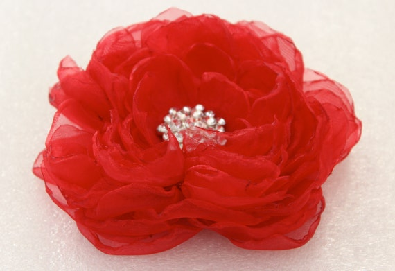 Red hair flower with rhinestone/ wedding red hair clip/ fabric wedding flower/ bridal hair clip