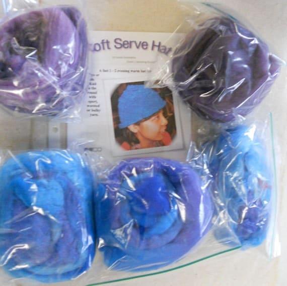 5 Fiber Sampler, Hand Dyed Spinning Fiber tops, Blue Lagoon