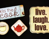 Set of Kiss the Cook / Kitchen Magnets