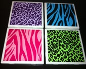 Neon Animal Print Tile Coasters - Set of 4