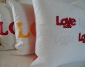 Decorative Love Pillow 18x18 Red and White Love Felt Applique Hand stitched Handmade Modern Romantic