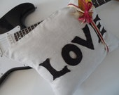 Love Pillow Chocolate Felt Applique Oatmeal Natural Color Handmade Hand Stitched