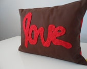 Custom Applique Love Pillow Chocolate Brown With Red Love Applique Handmade