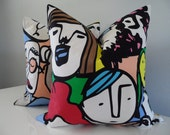 Decorative Pillow Cover Custom Size Modern Funky Colorful Green Pink Yellow Blue Handmade Cotton Fabric