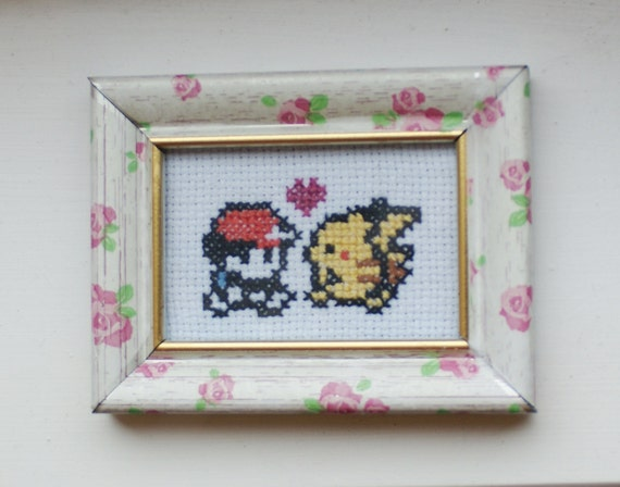 "SALE - Trainer, Pikachu & love heart: Pokemon-inspired mini cross stitch in a vintage floral rose-patterned ""shabby chic"" frame"