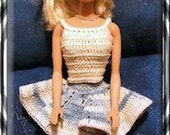 Barbie Hand Crochet Fashion Doll 3 PC. Skirt,Scarf & Blouse set Plus 2 evening Gowns