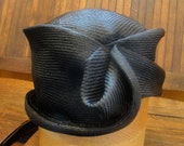 Black Straw Hat, Newly Hand Blocked -1920's Vintage Look-Parasisal Straw- Custom Order Only