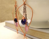 Copper Wire  Earrings- Free Form w/Chain Dangles-Wire Wrapped- Purple and Pink Beads