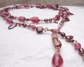 Lariat Necklace-Assorted Glass Beads-Frosted Pink- Copper Accents