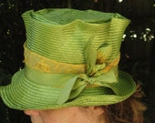 Kentucky Derby-Parasisal Straw Hats- Mad Hatter-- New Hand Blocked- Vintage Inspired Hat w/Brim--Green Straw Top Hat-