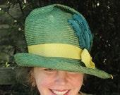 Green Straw Hat-Ladies Hand Blocked Hat - Vintage Inspired Hat w/Brim--Teal Curly Feather-Vintage Velvet Leaves-Custom Only