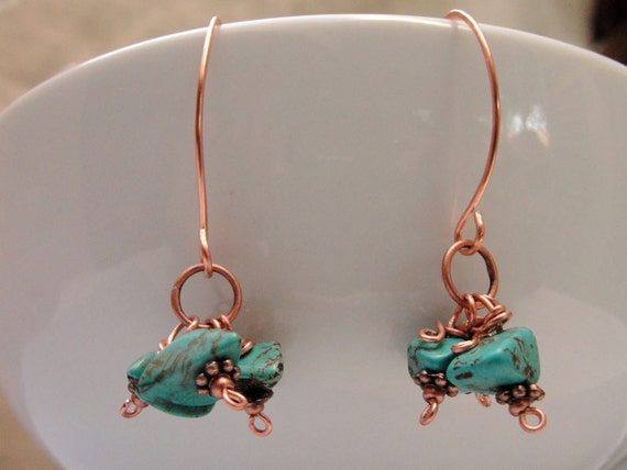 Turquoise Earrings- Cluster Beads-Oval Hooped Hooks -Copper Wire Wrapped Dangles